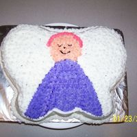 Angel Cake   Using the Wilton's butterfly pan I did an angel cake for my aunts birthday in her favorite colors.