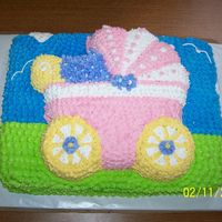 Baby Shower For Amber  I did this with the Wilton baby buggy pan on top of a sheet cake (1st time to ever do this), the mom - to - be loved it and got alot of...