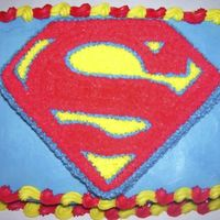 Superman Made for my nephews bday. Butter pecan cake with cream cheese frosting..