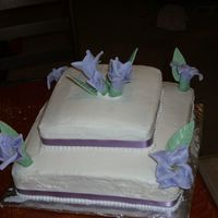 Two-Tier Square Cake Purple Flowers