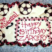 Soccer Birthday Another cake for my son Zack, for his soccer team. Red velvet cupcakes, bavarian cream filling, bc icing. Soccer balls are dark chocolate...
