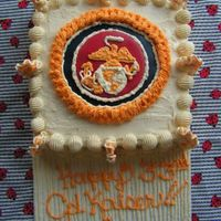 Marine Birthday This is a white cake with white bc filling. I decided to surprise my fiance with a marine badge for this cake, as most of his friends at...