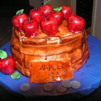 Apple Sale Thank you Jackie for your instructions and support with this!Fondant apples and barrel covering a carrot-spice cake with cinnamon frosting...
