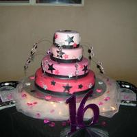 Sweet 16 Cake This cake was fun.. Made for my BFF's daughter.. Lots of crystals, glitter and lights..