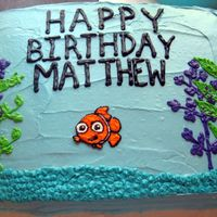 We Found Nemo! This was for my nephew's 2nd Birthday. The cake was actually frosted with canned frosting(at my brother's request). Nemo is made...