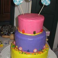 Candy Cake I made this for my daughter's 10th birthday. The frosting is buttercream. All the candy is real, except for the lollipops. I made the...