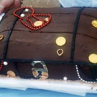 Pirates Treasure I made this for my daughter's Pirates of the Caribbean party back when the first movie came out. I didn't cut the rounded top off...