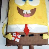 "Spongebob Squarepants This is one of my favorites. I frosted with buttercream frosting. I used yellow sugar crystals for the holes of the ""sponge"". I..."