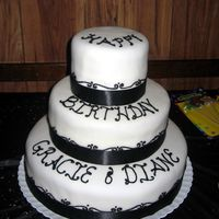 Black & White I made this for my cousin & her friend. Each tier is a different flavor cake and filling. It is covered in fondant. The piping is...