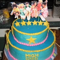 High School Musical This is a birthday cake I made for a friend's daughter. Its buttercream frosting. The stars are made of fondant that I then stuck...