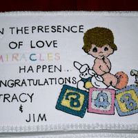 Precious Moments Cake Slab cake with Buttercream Freehand decorated to match the Baby Shower theme (pic from the napkins used )
