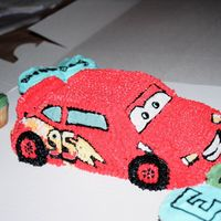 Cars Cake Used 3D car to decorate as lead from new disney Cars movie - kids loved it and have not even heard of the movie yet
