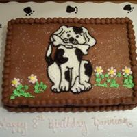 Puppy Cake  For an 8 yr old who loves puppies. Not my preference on types of cakes to do, but it's what the customer wanted. It's 1/4 sheet,...
