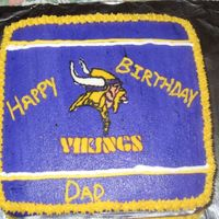 Minnesota Vikings This cake is one my Dad requested for his birthday. The cake is 1/2 cheesecake flavored vanilla cake and 1/2 cheesecake flavored strawberry...