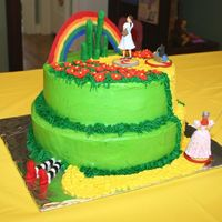 Wizard Of Oz Birthday Cake This is the Wizard of Oz cake after the cake toppers were put on. My daughter loved it!