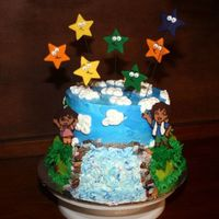 Dora And Diego Birthday Cake This is a cake I made for a birthday for boy/girl twins. I tried to incorporate a bit of Dora and a bit of Diego. The stars are fondant and...
