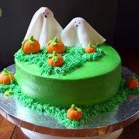 Ghosts And Pumpkins This is a cake I made after seeing the one posted by brownlg05. I don't know if I did hers justice, but I had fun making it! It is a...