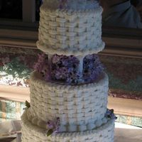 Basket Weave Wedding Cake Four tiered wedding cake, decorated with buttercream basket weave