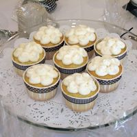 Wedding Shower Cupcakes I made these cupcakes for my friend's wedding shower to match the invitations and decorations. They are white cake with raspberry...