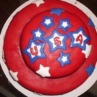 Usa! Usa! This is my first attempt at a stacked cake AND MMF.