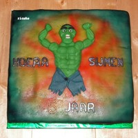 "Hulk Cake 2-D Figure I've created a muscular structure under the ""skin"" this cake is fully covered in marsipan. The background is made with..."