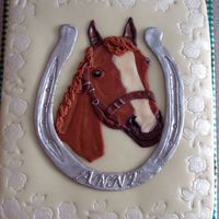 Horse And Horseshoe Cake Anne is my collegue's daughter and loves horses. She turned 9 and I had to make a horse cake for her. It is a spongecake with an...