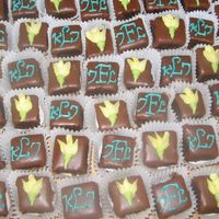 Monogrammed Petit Fours Made for a double bridal shower. My first paid petit four order!