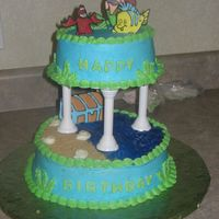 The Little Mermaid Tiered Cake Little mermaid and friends are color flow plaques.