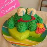 3-D Frog Cake Made from 9in Round (Lilly Pad) and Smallest Pyrex bowl (body) Limbs and eyes are Twinkies.