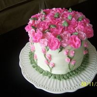 Shabby Chic Birthday Cake All Buttercream (Electric pink and juniper green leaves). I cannot make a rose to save my life! Thought I would try to pipe vines and buds...
