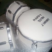 Drum Set Cake Silver and white drum set cake