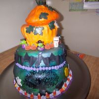 First Attempt At Topsy Turvy Halloween Cake two layers were yellow with red marbling(like blood) second layer wasorange and the pumpkin was carrot I used the giant cupcake pan for the...