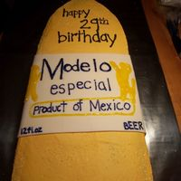 Modelo Bottle this was used for a birthday party but could be a grooms cake...it feed100.choclate cake with butter cream by far the largest sheet cake I...