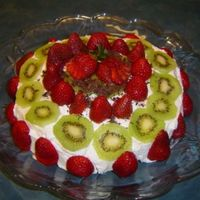 Pavlova  This is the best ever pavlova recipe from this site. It's fantastic. The fresh fruit, whipped cream, and meringue. Everyone was raving...
