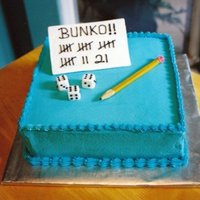 Bunko Cake Cake for a Bunko Party - scorecard, dice and pencil made out of fondant. Iced in Buttercream.