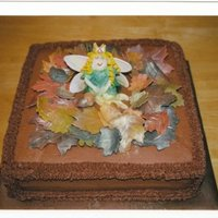 Fall Fairy Cake Leaves and fairy made from fondant