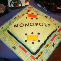 Monopoly Party! This cake was made directly on a monopoly board. This was made before I discovered the wonders of MMF! It was made for a friend of the...