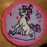 My Little Pony   I had a little trouble drawing this on the cake. It is supposed to be a my little pony unicorn. I guess better luck next time