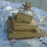 Square Seashell Cake Embellished with bamboo and seashells