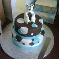 "Baby Shower Cake 6"" round and 10"" round cake with chocolate fondant and white chocolate fondant. Bear is made out of fondant as well."