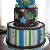 Baby Boy Baby boy shower cake inspired by cakes on this site and coordinating with the Carter train party supplies.