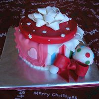 Christmas Gift Baby Shower Christmas baby shower cake for another friend. Buttercream w/ mmf accents