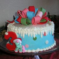 My Little Pony Christmas My little pony Minty's Christmas birthday cake for my daughter. Chocolate w/ mint Oreo filling covered in buttercream w/ mmf accents...