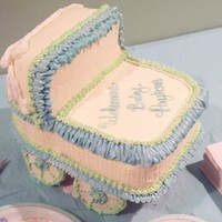 3D Baby Buggy White and Chocolate cake, Vanilla icing, Candy pearls