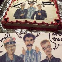 Borat Casino Cake I did this for a friend. He had a casino themed birthday party and loves Borat, so I took a photo of him and his best friend, one that I...
