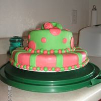 Pink And Green Mmf Cake   I had a whim to make a cake and had limited supplies at the moment, but this is what I came up with! haha