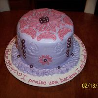 Stephanie's Cake--Valentine's 2007 This cake was a surprise for the wife of the music leader at my church. She likes pink daisies, her favorite scripture is Psalm 139:14, and...