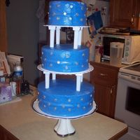 Dana's Wedding Cake 6-8-10 tiers in royal blue buttercream with silver accents. The silver circles were originally going to be fondant, but due to the weather...