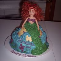 Loralai's 2Nd Birthday--Mermaid Cake My daughter loves the Little Mermaid, so I made a mermaid cake for her second birthday. The top half of the mermaid is a real doll that I...