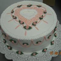 "Pink Heart This is a cake I did in a local class. Many techniques on this one cake, thus the reason it is a little ""busy."""